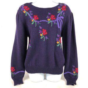 Vintage Susan Bristol Blue Floral Sweater Button